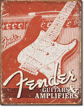 Fender Weathered Guitar and Amplifiers Instruments Music Musician Metal ... - $20.95