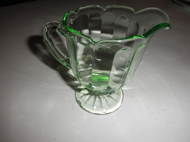 Green Depression Glass footed Creamer - $14.80