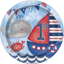 "Nautical 1st Birthday 8 Ct Lunch Dinner 9"" Plates - $3.13"