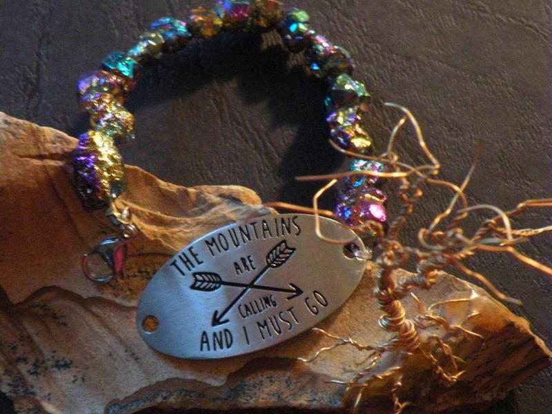 Handmade Bracelet ~ Titanium Quartz Stones ~ The Mountains are Calling