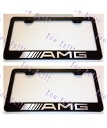 """2X """"Mercedes"""" AMG Stainless Steel Black License Plate Frame Rust Free W/ Caps - $23.75"""
