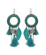 Statement Feather Tassels Dangle Earring Pendant Drop Earrings For Women - £29.64 GBP