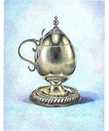 Akimova:SILVER MUG, Original Drawing ,still life, food, colored pencils - $25.00