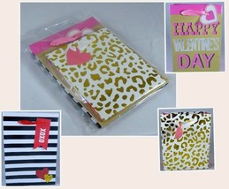 Variety Pack of 3 Valentine's Day Gift Bags Gold Cheetah Black & White S... - $8.59