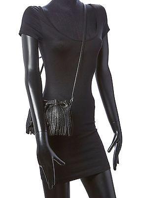 Rebecca Minkoff Black Leather Fringe Micro Lexi Bucket Crossbody Bag NWT