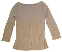 BCBG MAXAZRIA Baby Ribbed Boat Scoop Neck Knit Shirt Clay Brown sz L  - $21.78