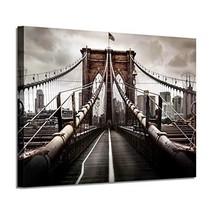 NYC Brooklyn Bridge Picture Artwork: New York Scene Graphic Art Painting... - $40.15
