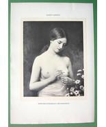 NUDE Lovely Maiden in Love Daisy Flower - 1905 Lichtdruck Print - $13.46