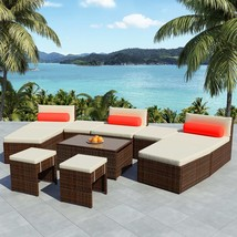 vidaXL Outdoor Modular Sofa Set 25 Piece Wicker Poly Rattan Brown Sun Lounger - $782.99