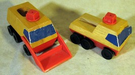 2 Mattel 1971 Wood Construction Wind-Up Trucks - $9.89