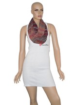 Calvin Klein Women's Wrap Scarf Black Red Gold Stripe Loop 100% Polyeste... - €11,90 EUR