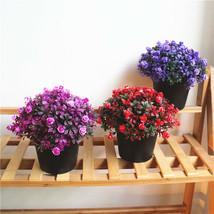 Plastic Black Flowepot Plant Set Artificial Flowers Bonsai Home Table De... - $4.99