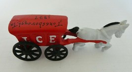 Vintage Cast Iron Toy Horse and Ice Wagon Cart Buggy with Moving Wheels - $18.69