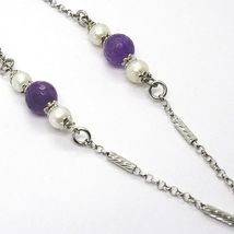 Necklace Silver 925, Amethyst Purple, Triple Circle Pendant, Milled image 4