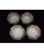 """4 Nippon Hand Painted 8 Sided Nut Cups Pink and Gold Raised Designs 1"""" 3... - $18.99"""
