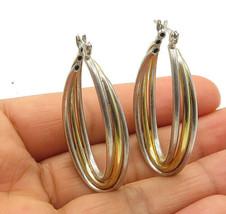 925 Sterling Silver - Vintage Shiny Two Tone U-Shaped Hoop Earrings - E7478 - $31.42