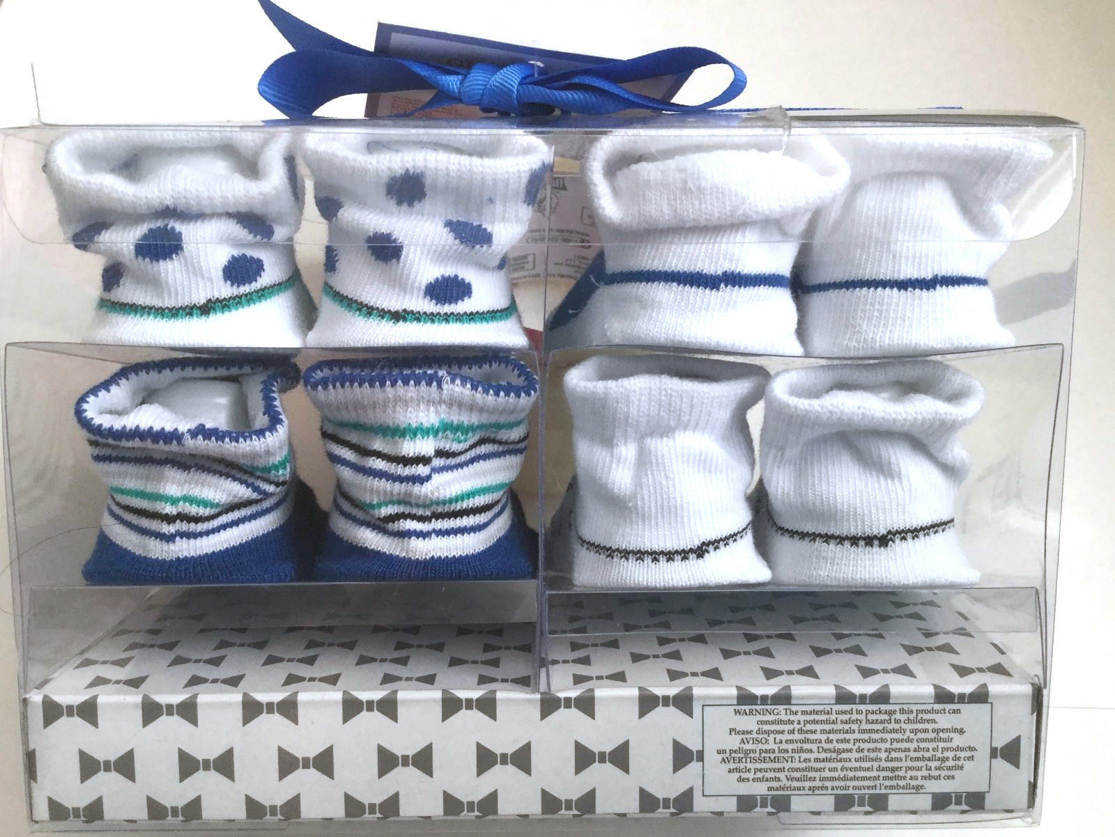 Baby Booties Crib Shoes Graphic Socks Size 0-12 Months 4 Pairs Unisex