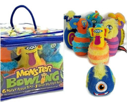 Melissa & Doug Monster Bowling Game Plush 6-Pin Game with Carrying Case ... - $19.99