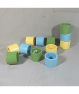 Set of 12 UGNA Napkin Rings, Japan, 1960's, Green, Blue, Yellow - $20.36