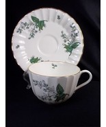 Royal Worcester Valencia bone china cup & saucer white gray flowers gold... - $24.14