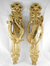 Pair Wall Plaques Violin Lyre Gold Burwood Vintage 1973 Christmas decor ... - $19.79