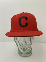 Cleveland Indians Block C Red Hat New Era Cool Base 59Fifty Size 7 3/8 T... - $26.68