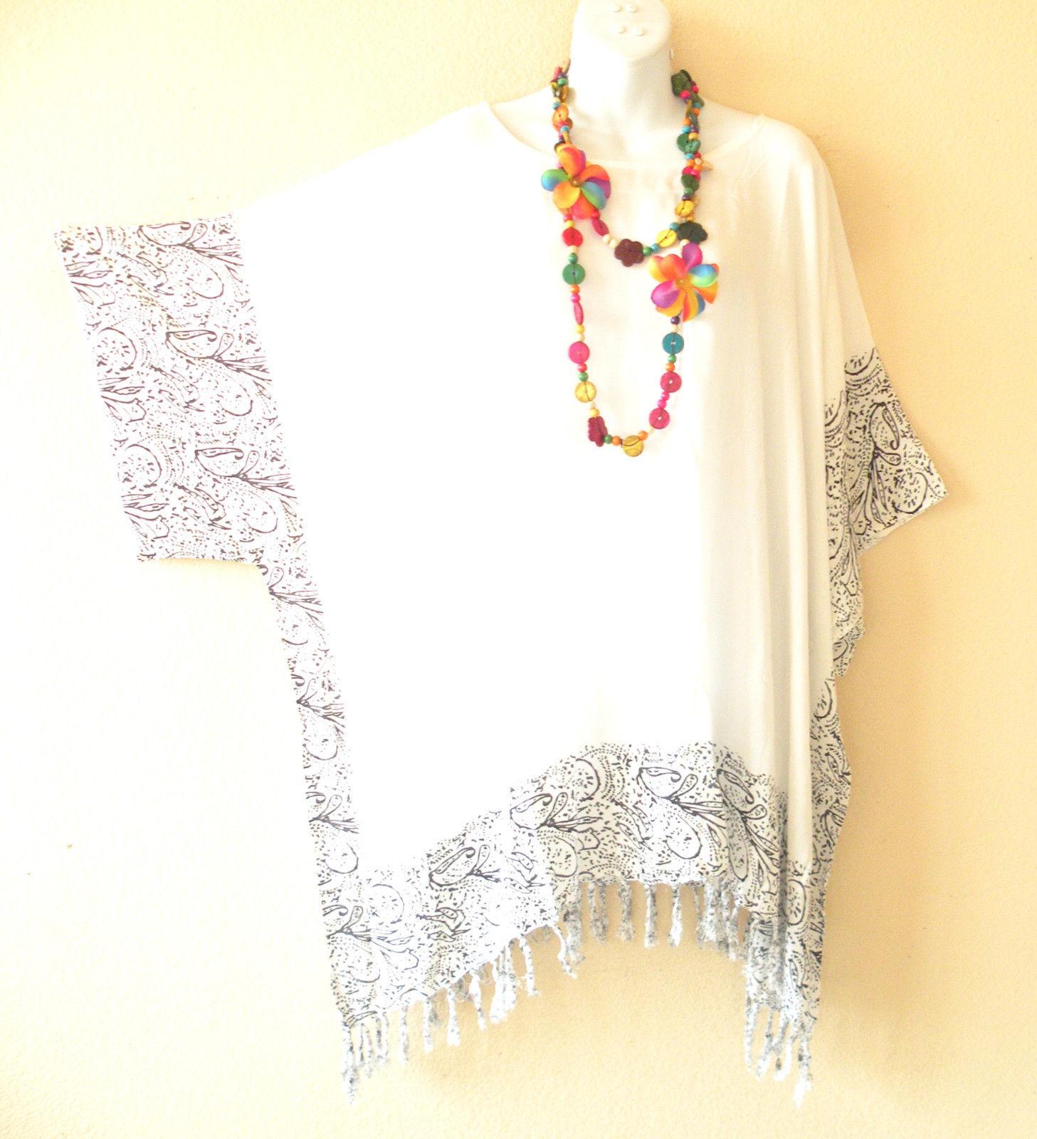 KB731 White Caftan Poncho Kimono Tassel Tunic Blouse Top - 2X, 3X, 4X, 5X
