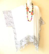 KB731 White Caftan Poncho Kimono Tassel Tunic Blouse Top - 2X, 3X, 4X, 5X - $24.65