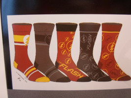The Flash Mens 5 Pair 5 Pack Casual Crew Socks Shoe Size 8-12 DC Comics - $18.12