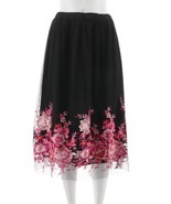 Du Jour Pull-On Floral Embroidered Mesh Midi Skirt Black M NEW A307205 - $34.63