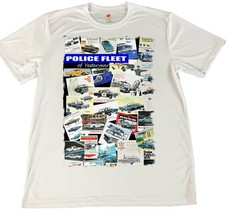 Police Fleet of Yesteryear Police Cars Wicking T-Shirt w Flag Car Coaster - $14.80+