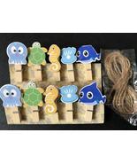 10pcs Ocean Animals Wood Paper Clips,Wooden Pegs,Pin Clothespin,Party De... - $3.20