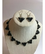 """Vintage Necklace Set 16""""/Earrings 1.5 Resin Bugle Beads Black Clear Hand... - $15.59"""