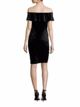 H Halston Black Velvet Off-The-Shoulder Sheath Dress ( MEDIUM ) NWT $99.00 image 2
