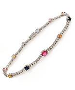 "1.85 CT Multi Gemstones & 1.54 CT Diamonds 18K White Gold Bracelet Size 7"" - $1,480.05"