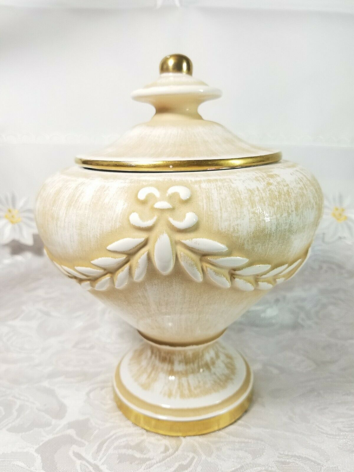 "VINTAGE Porcelain Biscuit Candy Pot Jar Urn Covered Vase 7 3/4"" Tall x 6 1/4"""