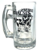 Braums Stores Dairy  Milk Clear Glass Mug Texas- Advertsing Frost Before... - $24.63