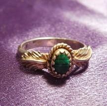 Vintage Malachite W/ Leaf Detailed Sterling Silver Ring Signed - $39.60