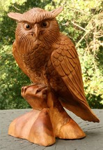 "12"" Large Wooden Owl Statue Hand Carved Sculpture Figurine Art Home Deco... - $106.69"