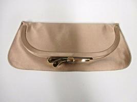 CHLOE Pinkish Satin Folded Framed Clutch Bag with Gold Ribbon Closure - $155.00
