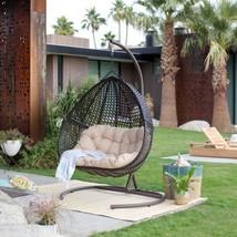 2 Seat Wicker Hanging Chair Teardrop Double Resin Egg Swing Loveseat Cus... - $461.23