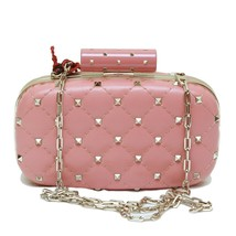 Aut Valentino Garvani Nude Pink Spike Minaudiere Clutch Evening Bag - $832.59