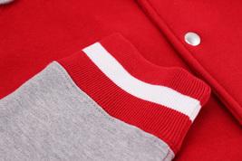 Men's Fleece Varsity Sweatshirt Letterman Sports Raglan Button Up Hoodie Jacket image 4