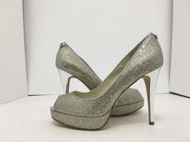 Michael Kors York Platform Silver Glitter Women's Evening High Heels Pum... - $62.27
