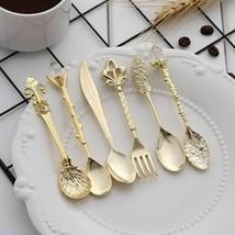 6 Pcs/Set Vintage Kitchen Flatware Tool Spoon Fork Mini Royal Style Metal Carved - $17.99