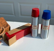 1960's THERMOS Outing Kit RED & Blue Thermos Original Vintage Sports Pic... - $100.00