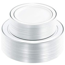 WDF 120PCS Silver Plastic Plates-Disposable Plastic Plates with Silver R... - $45.22
