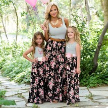 Mother daughter dresses 2019 Parent Child Outfits Look Sleeveless Patchw... - $17.10