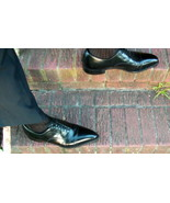 Used Black Vintage Johnston & Murphy Cap Toe Oxford PToe Shoes - 11.5C, ... - $45.00