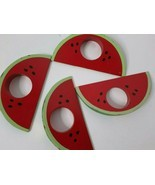 Watermelon Napkin Ring Holders Vintage Lot Of 4 Painted Wood Summer Picnic - $18.00